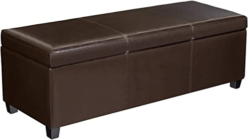 First Hill Madison Rectangular Faux Leather Storage Ottoman Bench