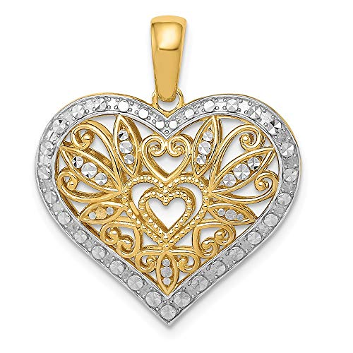 (14K Yellow Gold w/Rhodium Polished Diamond-cut Filigree Heart Pendant)