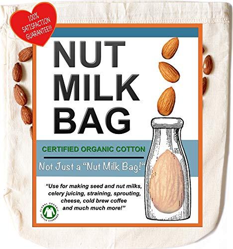 Nut Milk Bag - All Purpose | Certified Organic Cotton | Reusable Unbleached Natural Cheesecloth Strainer For Almond Milk, Juicing & Cold Brew Coffee | 12