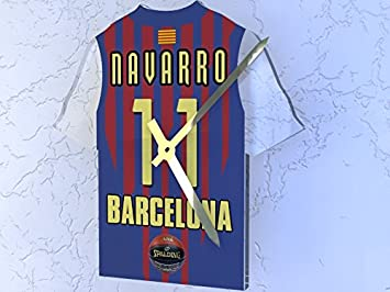 ... relojes - cualquier nombre, cualquier número, cualquier equipo., FC Barcelona Lassa EuroLeague Basketball Jersey Clock: Amazon.es: Deportes y aire libre
