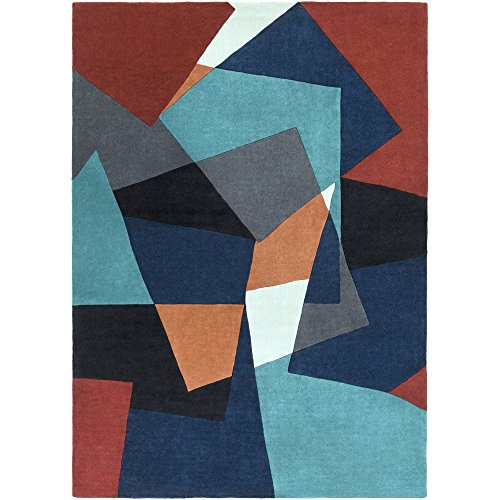 Surya Cosmopolitan COS-9125 Transitional Hand Tufted 100% Polyester Teal 8' x 11' Geometric Area Rug - Hand Carved Caviar