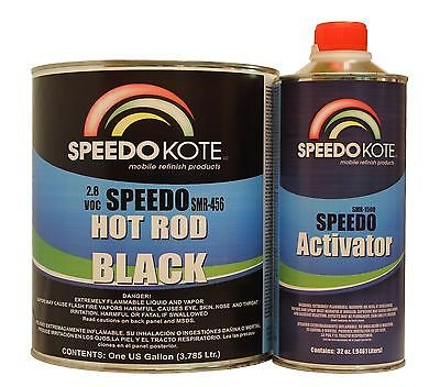 SpeedoKote SMR-456/170 - Hot Rod Black Paint 2.8 voc, Satin 2K Urethane, SMR-456 4:1 Slow Gal. Kit w/Act by Speedokote