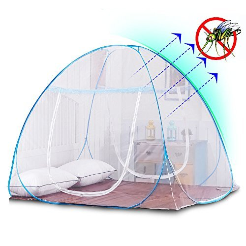 Yoosion Anti Mosquito Nets Pop Up Mosquito Net Bed Tent with Bottom 200(L)*180(W)*150(H) Mosquito Nettings Folding Portable for Baby Toddlers Kids Adult (Pet Blue Net)