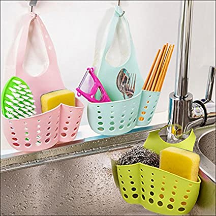 Hanging Drain Bag Basket Bath Storage Gadget Tools Sink Holder Plastic