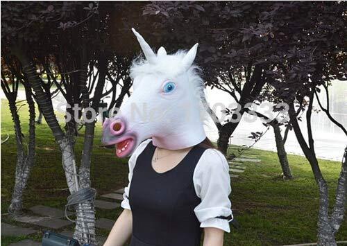 Unicorn Horse Mask - 50pcs Creepy Unicorn Horse Mask Head Halloween Costume Theater Prop Novelty Latex Masks Dhl Fedex - Feet Masque For Baby Face Creepy Mascara Cosplay Horror Clown -