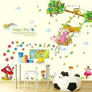 Wallpark lindo dibujos animados ni a columpio debajo flor for Pegatinas decorativas para bebes