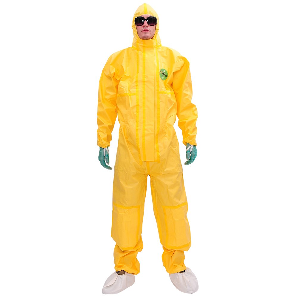 Raytex Yellow Disposable Chemical Protection Coveralls with Hood Elastic Cuffs Serged Seam Front Double Zipper Closure Double Kneestrap Suits for Hazardous Processing Cleaning Workwear 2XL