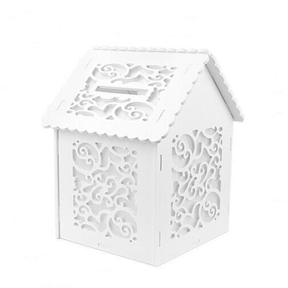 aur_19 Wedding Card Box Money Holder Party Reception Gift Card Post Box White Envelope Collection Hotel Pub