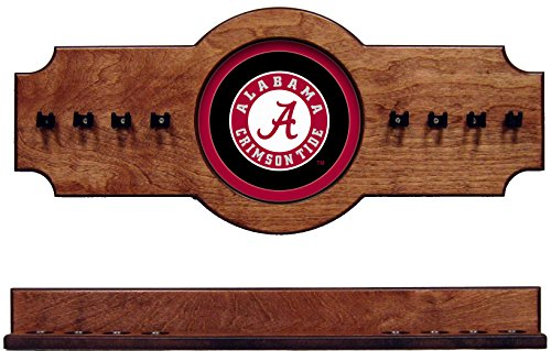 NCAA Alabama Crimson Tide ALACRR400-P 2 pc Hanging Wall Pool Cue Stick Holder Rack - Pecan by wave