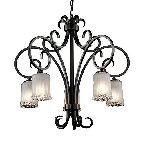(Justice Design Group Lighting GLA-8575-16-WTFR-MBLK Veneto Luce 5-Light Chandelier, 32