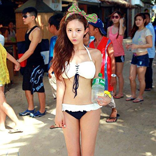 YUPE Hot spring Badeanzug Bikini Bademode gebändert Rohr nach oben Spa Beach Schöne weisse Bademode