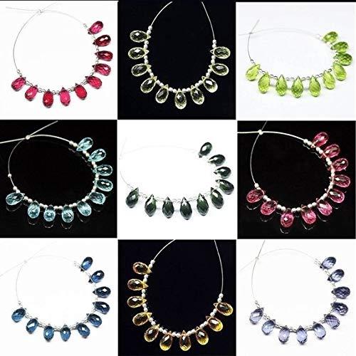 Beads Bazar Natural Beautiful jewellery Swiss Blue Quartz Faceted Tear Drop Briolette Gemstone Loose Craft Beads 5 Pair 10mm x 5mmCode:- NY-253   B07L244DZC