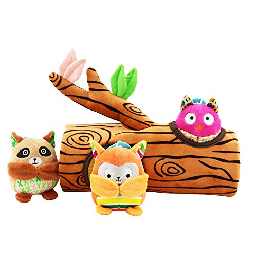 Baby Rattle Toys Stump, peekaboo - animal Soft Hanging Crinkle Squeaky Sensory Educational Toy Infant Newborn Stroller Car Seat Crib Travel Activity Plush Animal Wind Chime with Teether for Boys -