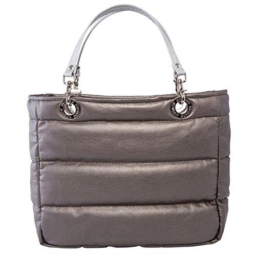 Bolsa para mujer Sundar ® Basica Metálica c/cierre color Estaño asas plata tradicional