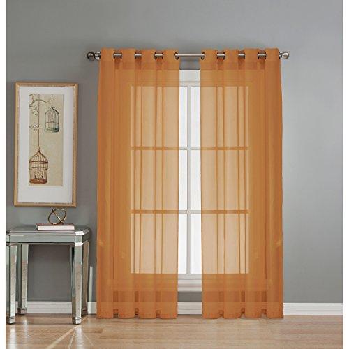 Window Elements Diamond Sheer Voile Extra Wide 56 x 90 in. Grommet Curtain Panel, Rust