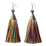 Multicolor Long Tassel Earrings Mina Draping Extra Long Earrings Fashion Jewelry