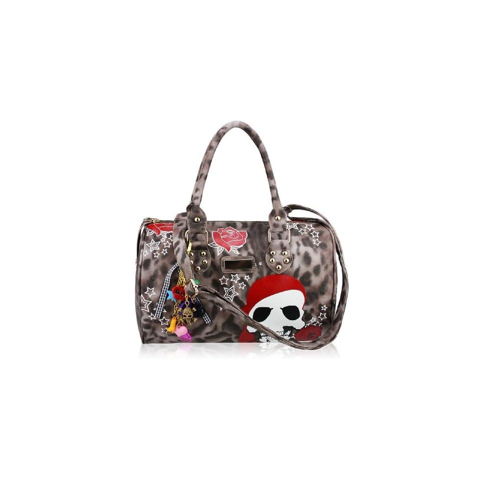 Womens Brown Skull Tote Handbag   Brown Leopard Print Bag