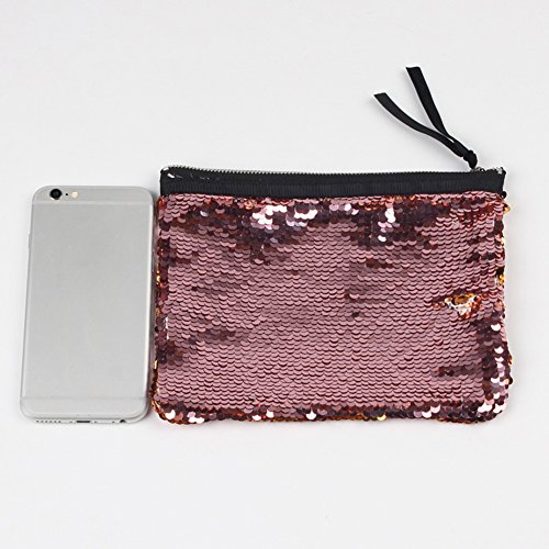 Blue Glitter Handbag Women White Bag Evening Party Black Sequins Storage Ran Zipper Fashion Pink Pu Makeup IqnCUp6w6