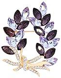 Gyn&Joy Gold Tone Olive Leaf Branch Swarovski Element Crystal Rhinestone Holiday Pin Brooch BZ054 (Purple)