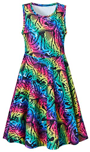 Girls Sleeveless Dress 3D Print Cute Galaxy Rainbow Striped Pattern Summer Dress Casual Swing Theme Birthday Party Sundress Toddler Kids Twirly Skirt