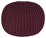 Ashley Furniture Signature Design - Nils Cotton Pouf - Comfortable Footrest & Ottoman - Contemporary - Maroon Red