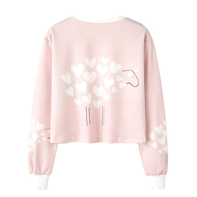 Amazon.com: BOLUOYI Sweatshirts for Teens Under 5 Dollars,Women Long Sleeve Print Casual Sweatshirt Pullover Top Blouse,Pink,L: Clothing