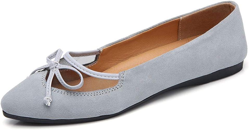 Yililay Bowknot Ballerines Suede Femmes d/écoupes Flats /à Enfiler Bout ferm/é Casual Chaussures Plates Oisif