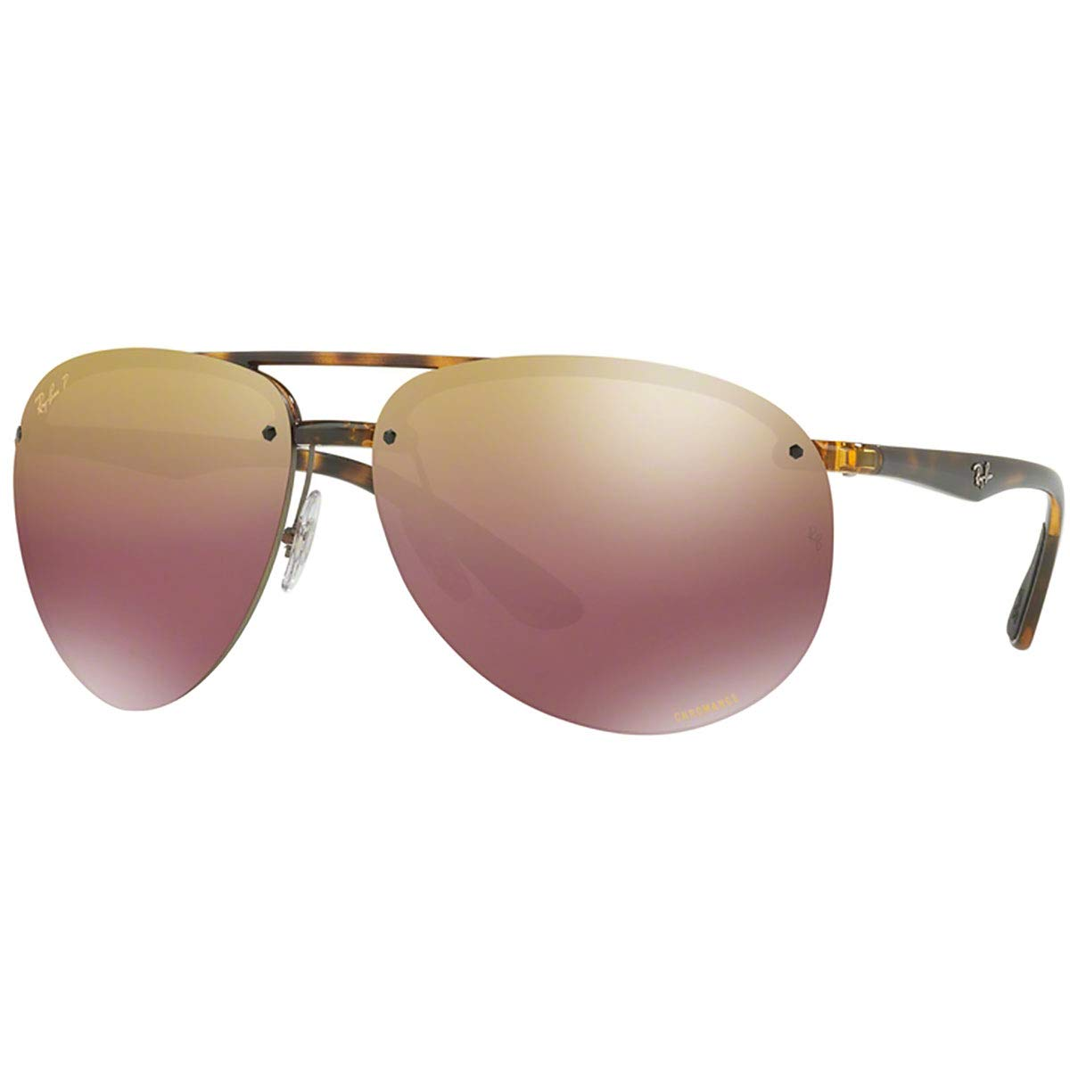 RAY-BAN Men's RB4293CH Chromance Mirrored Aviator Sunglasses, Havana/Polarized Purple Gradient Mirror, 65 mm by RAY-BAN