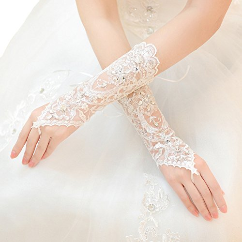 Premium Lace Floral Rhinestone & Sequin Fingerless Wedding Party Bridal Gloves, Ivory