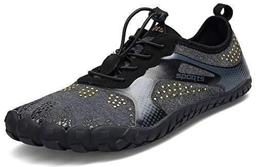 JOOMRA Unisex Men Hiking Gym Athletics Running Walking Fishing Fitness Training Beach Shoes Quick Dry Non Slip Barefoot Aqua Water Shoes Black 12 US Women's / 10 US Men's