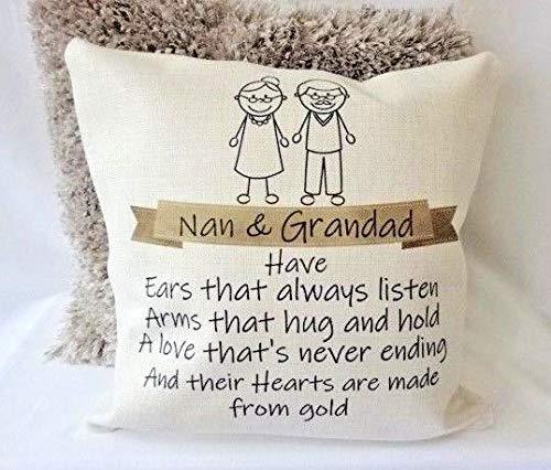 Yohoba cojín Personalizado Nan & Grandad corazón de Oro ...