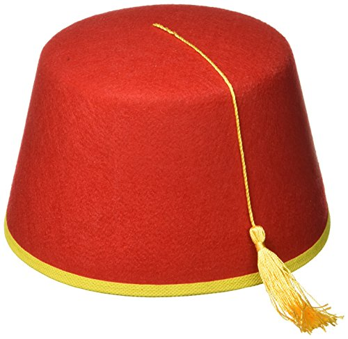 Red Fez Felt Hat Red/Gold (Adult Novelty Hats)