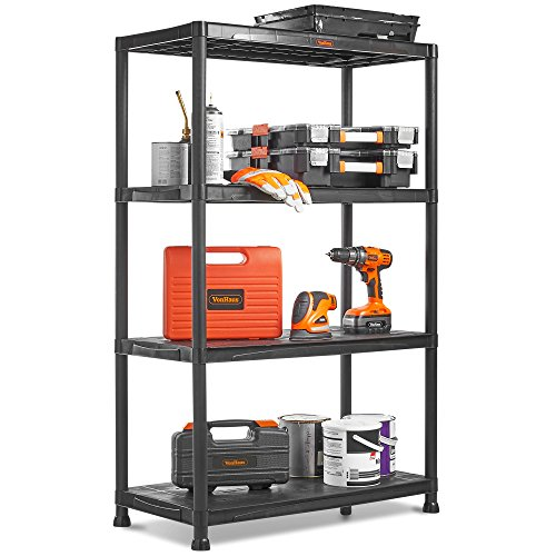 VonHaus 4 Tier Plastic Unit Extra Wide | Shelving for Garage and Shed | Freestanding Storage System - 125Kg Capacity - 25Kg Per Shelf - Ideal Office, Garden, Studio, Workshop - 174 x 80 x 40cm