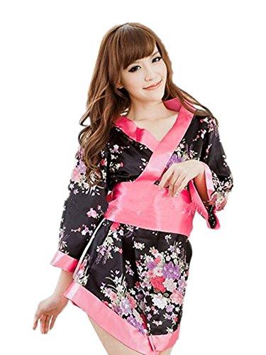 Pagoda Dress Costumes (Women's Sexy Sweet Flower Ribbon Japanese Kimono Lingerie Robe)