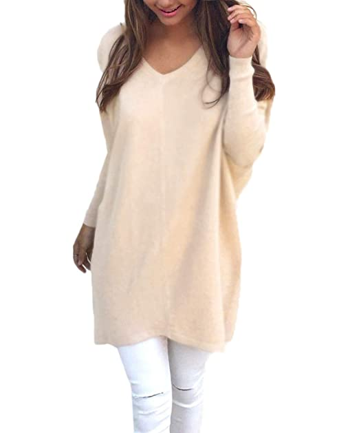 Simple-Fashion Otoño Invierno Mujeres Largo Suéter Casual Sweater Tops Blusa Jerseys Pullover Túnicas Joven