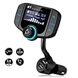 FM Transmitter, Bluetooth Transmitter Radio Wireless Receiver Adapter Quick Charge 3.0 Dual USB Charger In-Car Hands Free Calling Kit, Voltage Detection / AUX Input / TF Card Slot (Black)