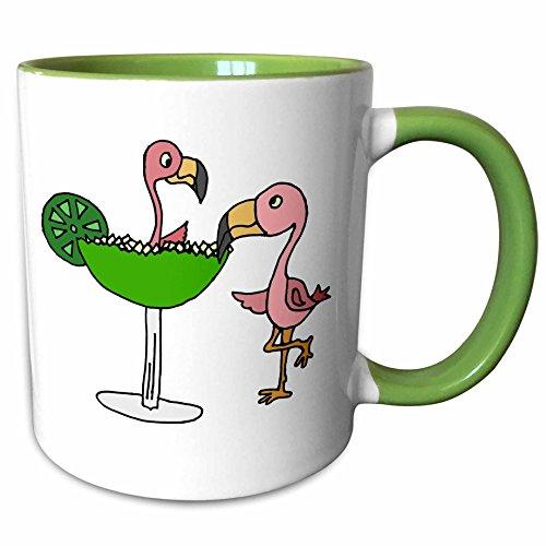 3dRose All Smiles Art at the Beach - Funny Pink Flamingo Bird with Lime Margarita - 11oz Two-Tone Green Mug (mug_240626_7)