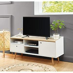 BAÏTA Caldera Meuble TV, laqué Blanc Mat, L120cm
