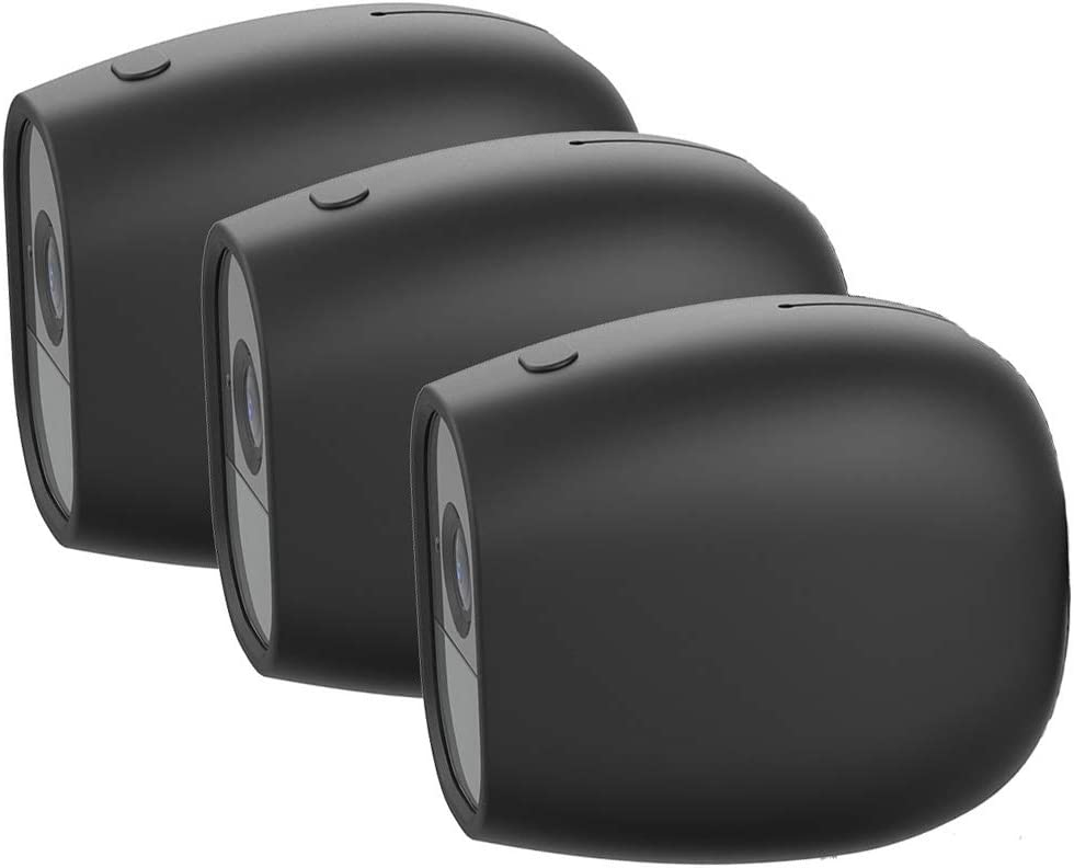 Silicone Skins for Arlo Pro and Arlo Pro 2 - Form Fitting Arlo Accessories Cover Case for Netgear Arlo Pro & Arlo Pro 2 Smart Security System Camera by OkeMeeo, Black, 3 Pack