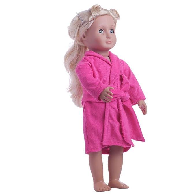 d057a93146 Momola Our Generation 18 inch American Girl Doll Clothing Cute Soft Robe  Bathrobe Dressing Gown