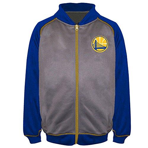 State Track Jacket - NBA Golden State Warriors Poly Fleece Raglan Track Jacket, Char/Royal, 2X