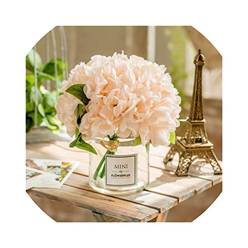 (shiny star show Gl Vase+Artificial Flower Ornaments Home nishing Crafts Decoration Office Table Bouquets Fake Flower Pot,Style 15)