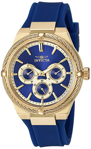 Invicta Women's Bolt Stainless Steel Quartz Watch with Polyurethane Strap, Blue, 18.7 (Model: 28908)