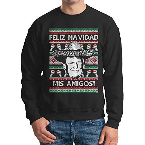 Mens Trump Feliz Navidad Mis Amigos Crewneck Sweatshirt