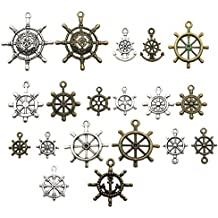 100g (about 50pcs) Craft Supplies Mixed Ship Anchor Wheel Pendants Beads Charms Pendants for Crafting, Jewelry Findings Making Accessory For DIY Necklace Bracelet M62 (Ship Wheel Charms)