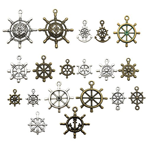 100g (about 50pcs) Craft Supplies Mixed Ship Anchor Wheel Pendants Beads Charms Pendants for Crafting, Jewelry Findings Making Accessory For DIY Necklace Bracelet M62 (Ship Wheel Charms) -