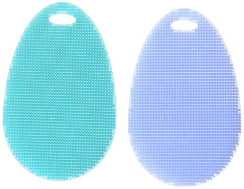 Silicone Dish Scrubber Kitchen Tool for Dishwashing, Momugs Multi-purpose Antibacterial non scratch Cleaning Brush Cloths Towels, Set of 2, Blue and Cyan
