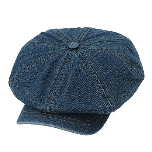 Denim Newsboy - WITHMOONS Baker Boy Flat Cap Stitchy Beret Washed Denim Jean Hat DW3834 (Blue)