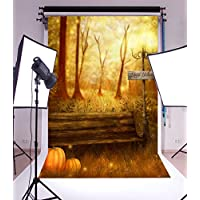 Laeacco Vinyl Thin Backdrop 5x7FT Photography Background Happy Halloween Grove Trees Wood Bench Road Lamp Pumpkins Elf Scene Background 1.5(W)x2.2(H)m Backdrop for Video Photo Studio Props