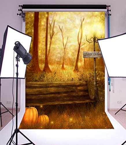 Laeacco Vinyl Backdrop 5x7FT Photography Background Happy Halloween Grove Trees Wood Bench Road Lamp Pumpkins Elf Scene Background 1.5(W) x2.2(H) m Backdrop for Video Photo Studio Props -